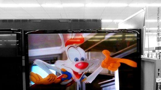 immagine di Roger Rabbit in un fotogramma su un monitor del computer