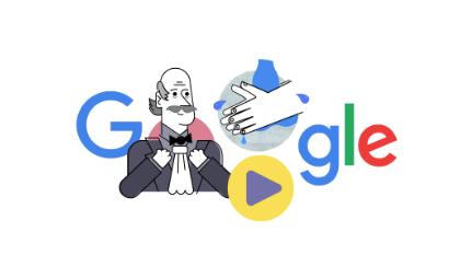 Il doodle di Google del 20 marzo 2020 dedicato a Semmelweis