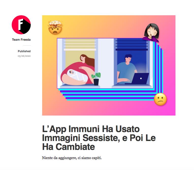 il post del blog di Freeda sulla nuova app Immuni